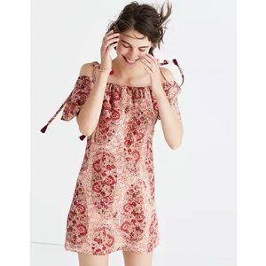 Madewell Silk Cold-Shoulder Dress Red Paisley XS